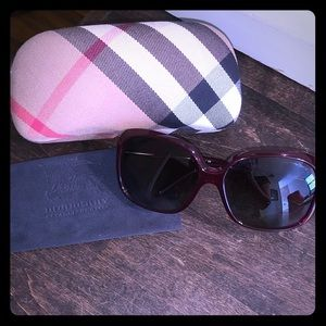 Red and silver brand new Burberry Sunglasses